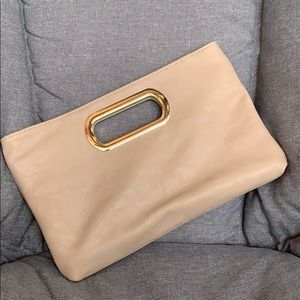 Tan Clutch with Removable Shoulder Chain